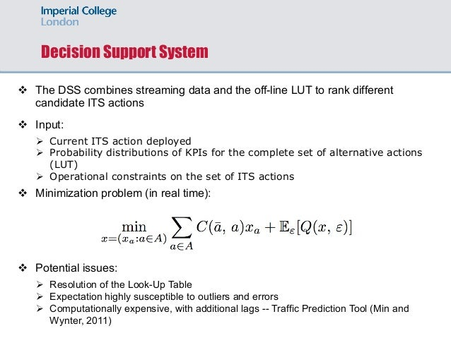 Decision Support System v The DSS combines streaming data and the off-line LUT to rank different candidate ITS actions v I...