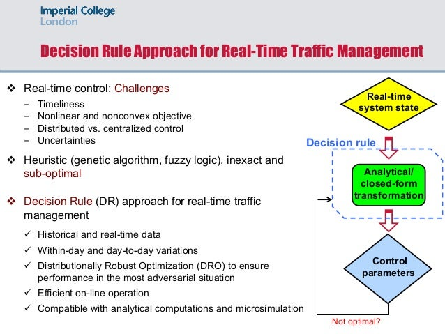 Analytical/ closed-form transformation Decision Rule Approach for Real-Time Traffic Management v Real-time control: Challe...
