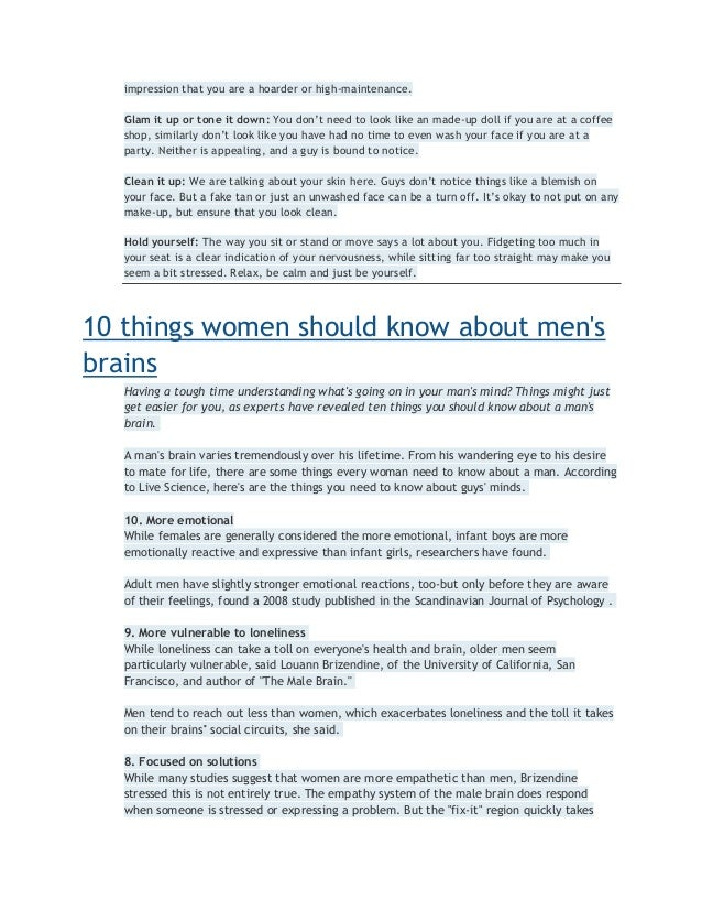 Girls know about should guys things 15 Things