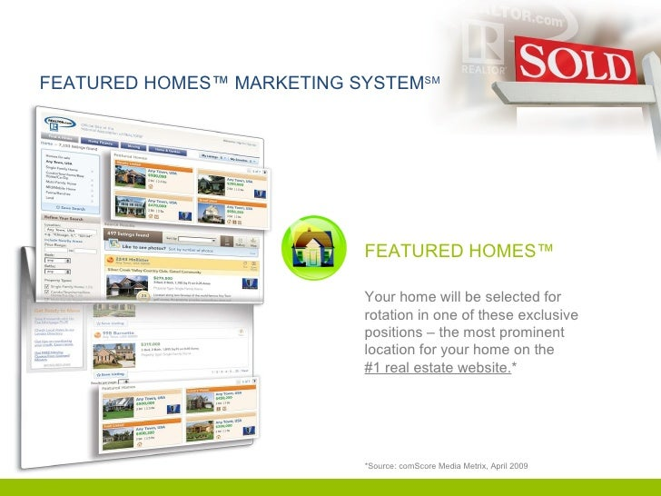 FEATURED HOMES™ MARKETING SYSTEM SM *Source: comScore Media Metrix, April 2009 FEATURED HOMES™ Your home will be selected ...