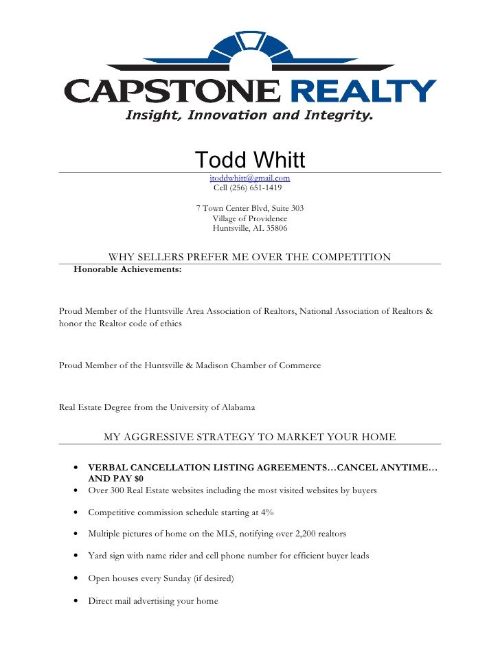 My Realtor Resume. Todd Whitt ...  Realtor Resume