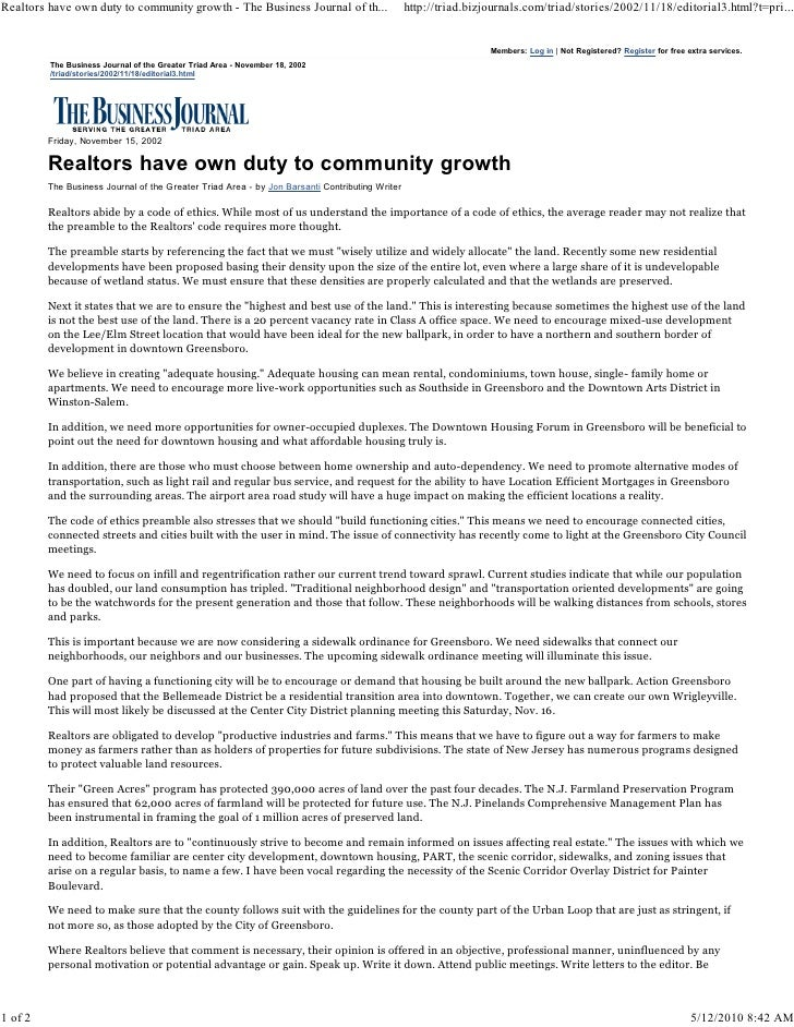 Realtors have own duty to community growth - The Business Journal of th...                      http://triad.bizjournals.c...