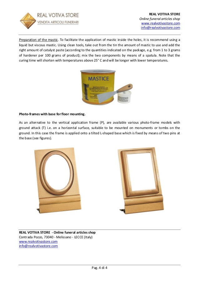 Technical Sheet – Photo-frames and porcelain photo for tombstones