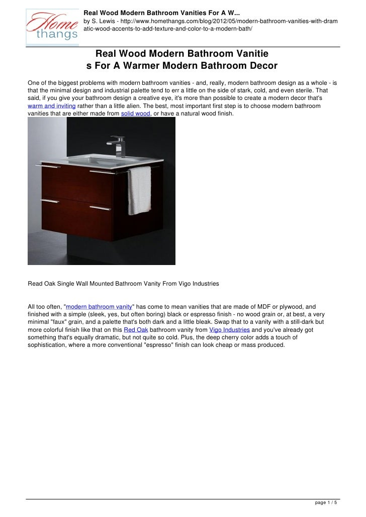 Real Wood Modern Bathroom Vanities For A W...                     by S. Lewis - http://www.homethangs.com/blog/2012/05/mod...