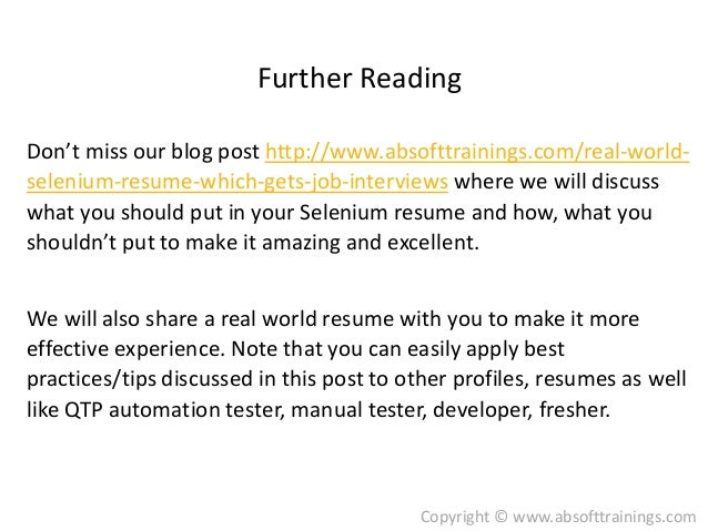 real world selenium resume which gets more job interviews
