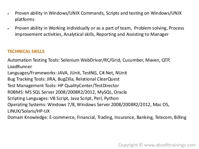 ... Trading And Telecom Domains; 6.  Selenium Resume