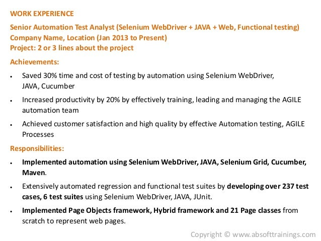 7 work experience senior automation - Senior Automation Engineer Sample Resume