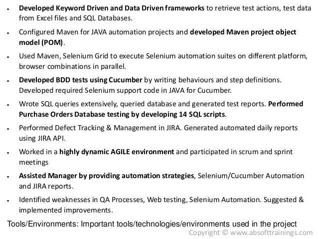 database testing resume