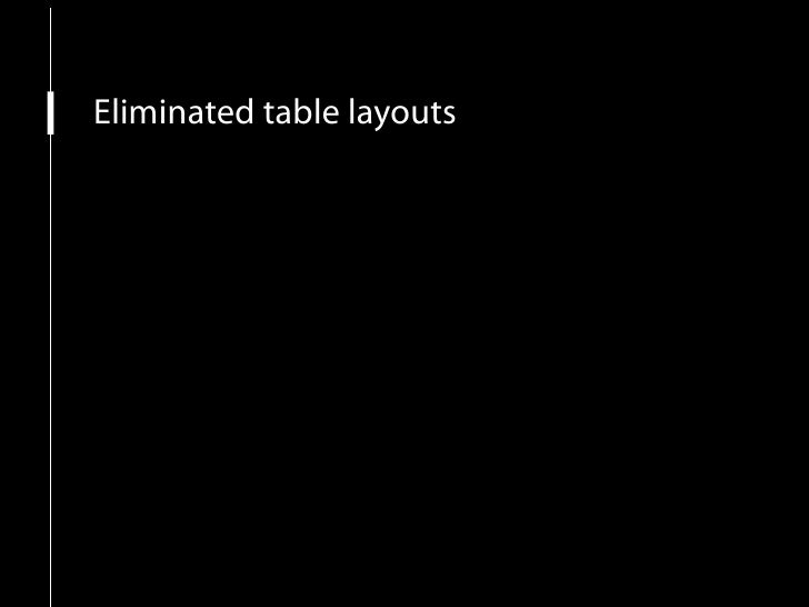 Eliminated table layouts XHTML transitional doctype