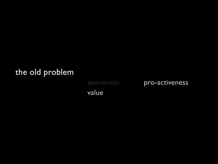 the new problem                   awareness   pro-activeness                   value       scale