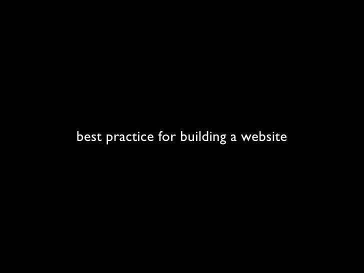best practice for building a website