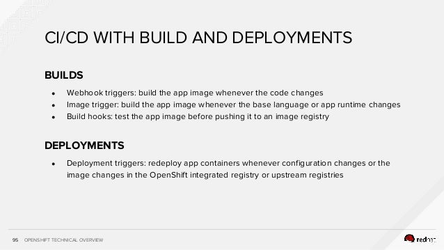 OPENSHIFT TECHNICAL OVERVIEW CI/CD WITH BUILD AND DEPLOYMENTS 95 BUILDS ● Webhook triggers: build the app image whenever t...