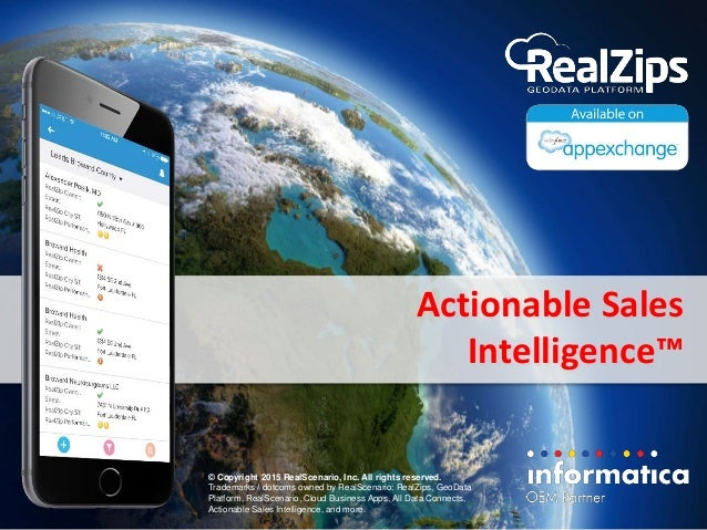 Actionable Sales Intelligence™ © Copyright 2015 RealScenario, Inc. All rights reserved. Trademarks / dotcoms owned by Real...