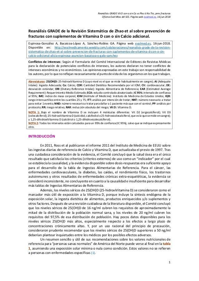 Reanálisis GRADE Vit D con o sin Ca vs Plac ó No Tto, prev fracturas Oficina Eval Mtos del SES. Página web evalmed.es, 16-...