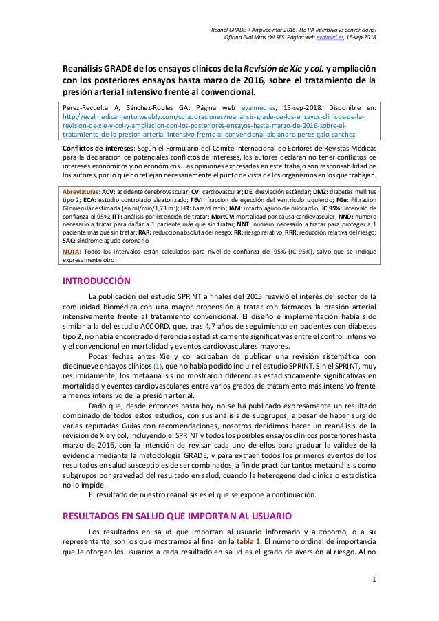 Reanál GRADE + Ampliac mar-2016: Tto PA intensivo vs convencional Oficina Eval Mtos del SES. Página web evalmed.es, 15-sep...