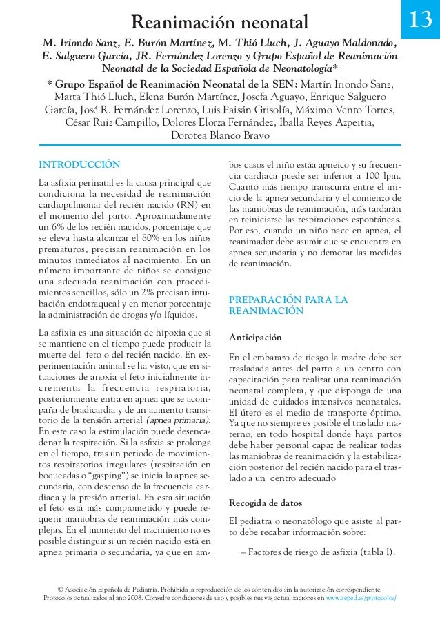 Reanimación neonatal 13  M. Iriondo Sanz, E. Burón Martínez, M. Thió Lluch, J. Aguayo Maldonado,  E. Salguero García, JR. ...