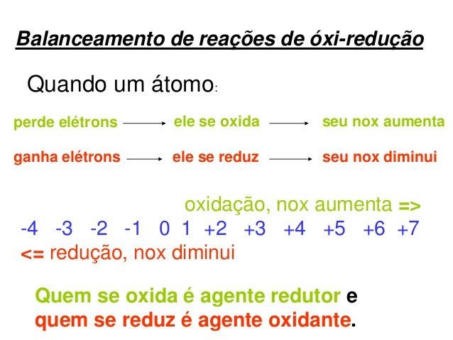 Balanceamento de reações de óxi-redução Quando um átomo: perde elétrons ele se oxida seu nox aumenta ganha elétrons ele se...