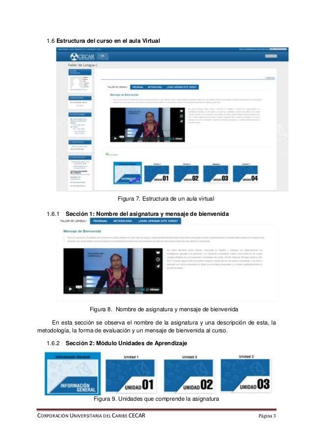 CORPORACIÓN UNIVERSITARIA DEL CARIBE CECAR Página 3 1.6 Estructura del curso en el aula Virtual Figura 7. Estructura de un...