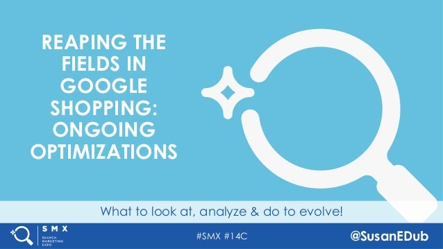 #SMX #14C @SusanEDub What to look at, analyze & do to evolve! REAPING THE FIELDS IN GOOGLE SHOPPING: ONGOING OPTIMIZATIONS