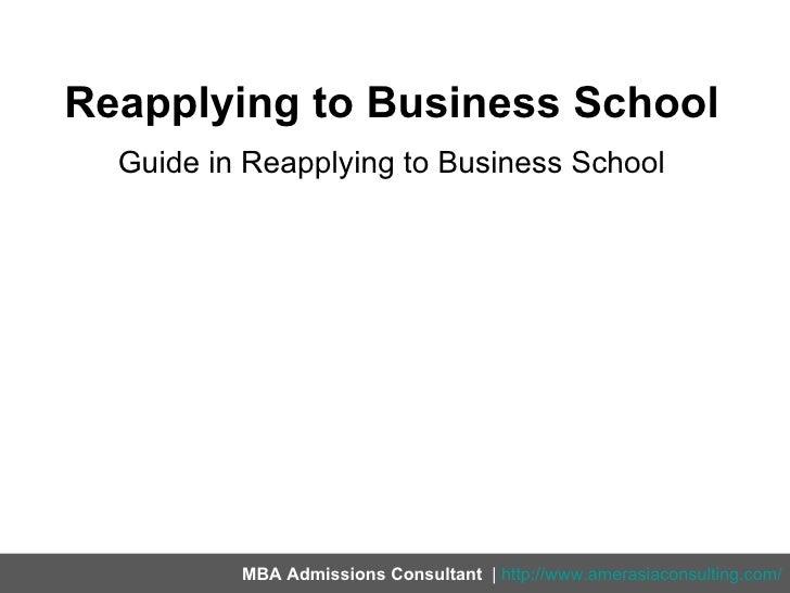 Reapplying to business school Slide 2