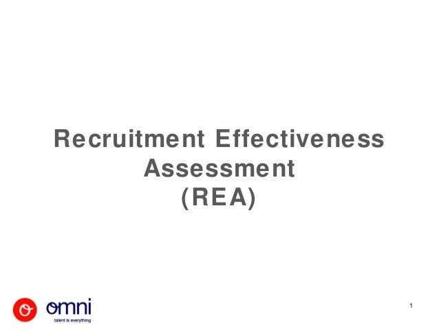 Recruitment Effectiveness       Assessment         (REA)                            1