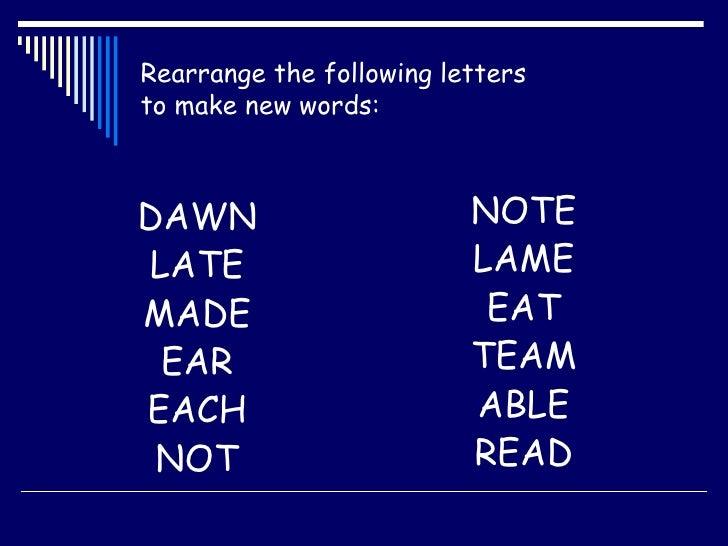 Rearrange Letters To Make New Words Starter