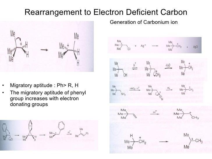 Rearrangement to Electron Deficient Carbon <ul><li>Migratory aptitude : Ph> R, H </li></ul><ul><li>The migratory aptitude ...