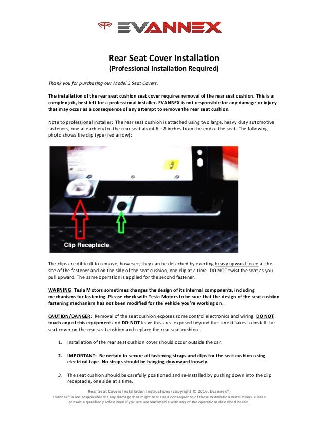 Rear	   Seat	   Covers	   Installation	   Instructions	   (copyright	   ©	   2016,	   Evannex®)	    Evannex®	   is	   not	...