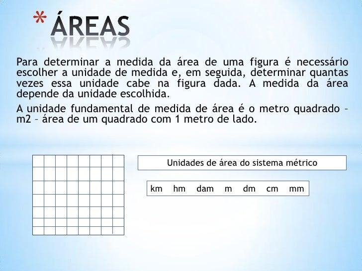 *Para determinar a medida da área de uma figura é necessárioescolher a unidade de medida e, em seguida, determinar quantas...