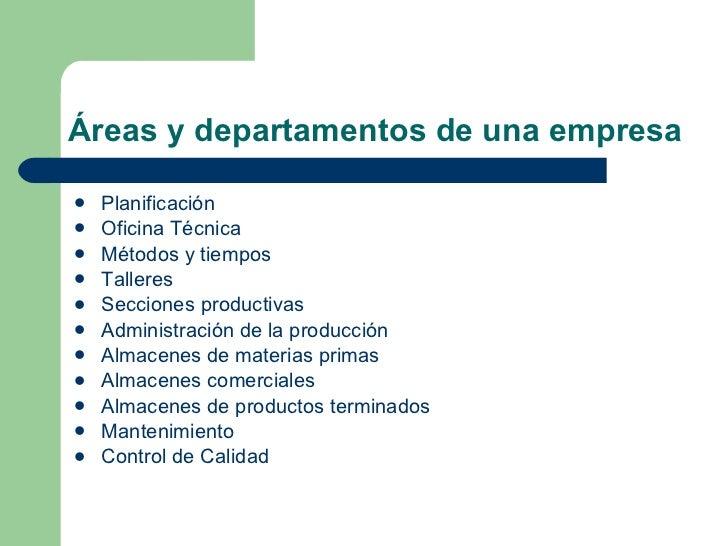 Reas y departamentos de una empresa for Areas de una oficina