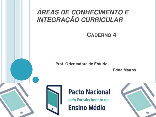 ÁREAS DE CONHECIMENTO E  INTEGRAÇÃO CURRICULAR  CADERNO 4  Prof. Orientadora de Estudo:  Edna Mattos