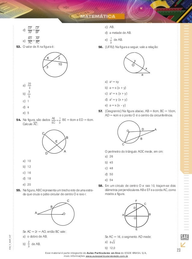 Áeas de figuras planas Ângulos na circunferência e teorema de tales