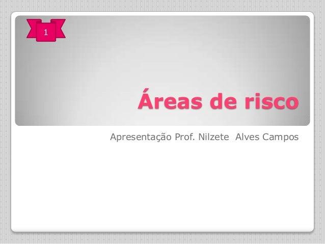 1  Áreas de risco Apresentação Prof. Nilzete Alves Campos