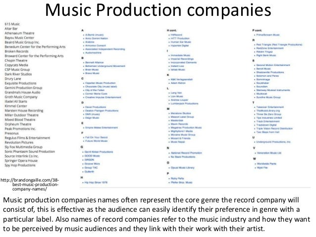 Reasearch music company names