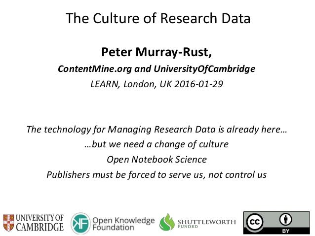 The Culture of Research Data Peter Murray-Rust, ContentMine.org and UniversityOfCambridge LEARN, London, UK 2016-01-29 The...