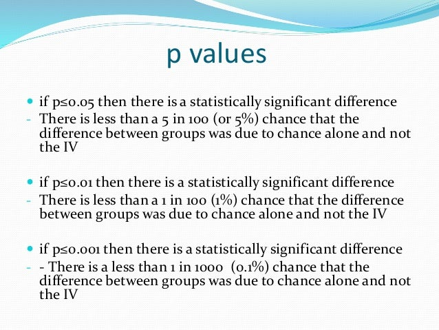 p values  if p≥0.05 then there is no significant difference - There is more than a 5 in 100 (or 5%) chance that the diffe...