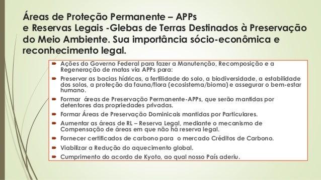 1 Áreas de Proteção Permanente – APPs e Reservas Legais -Glebas de Terras Destinados à Preservação do Meio Ambiente. Sua i...