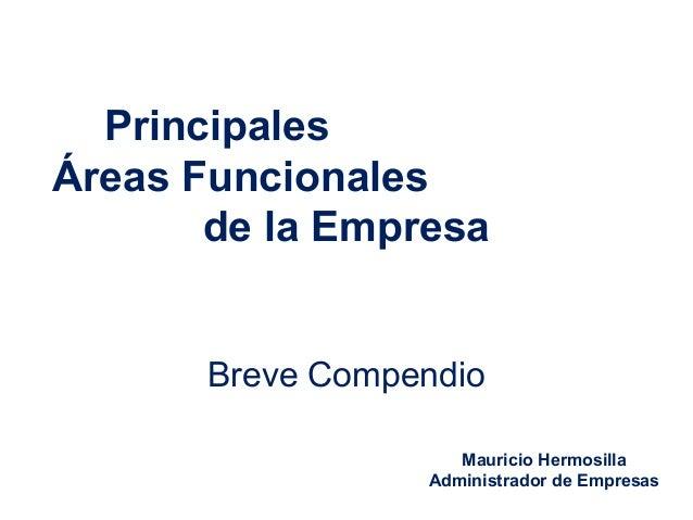 Principales Áreas Funcionales de la Empresa Breve Compendio Mauricio Hermosilla Administrador de Empresas