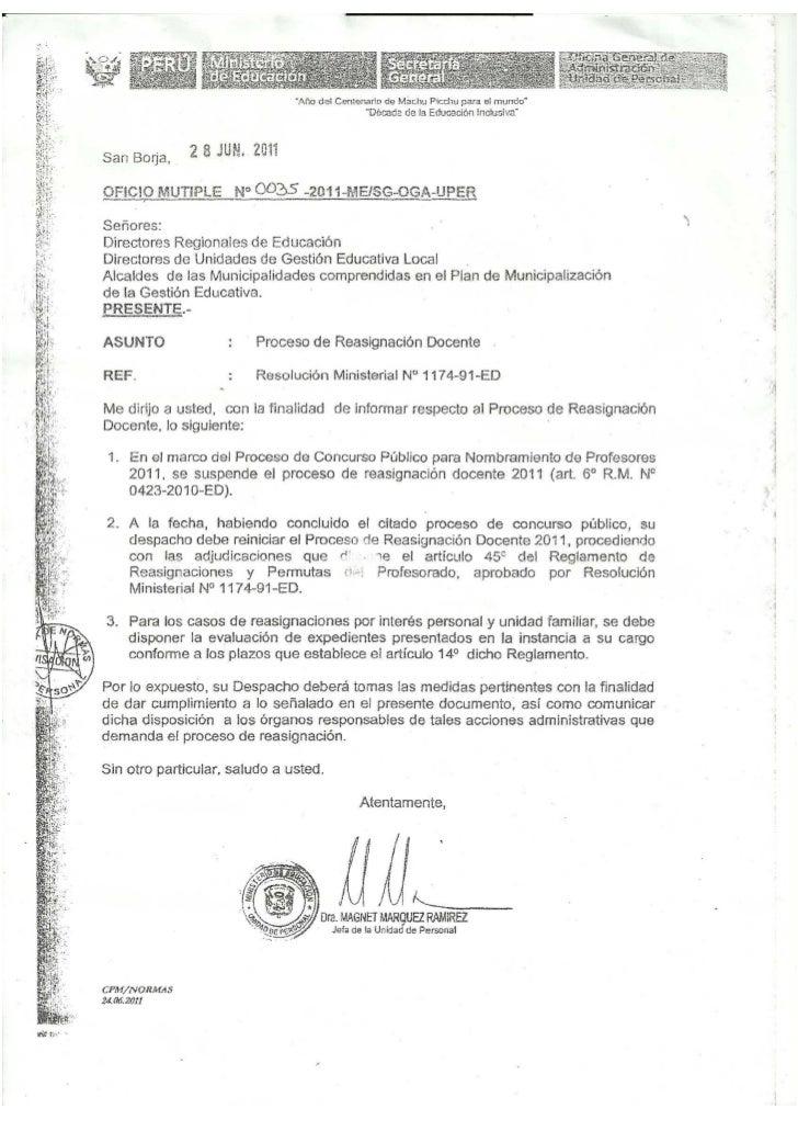Reasignaciones 2011