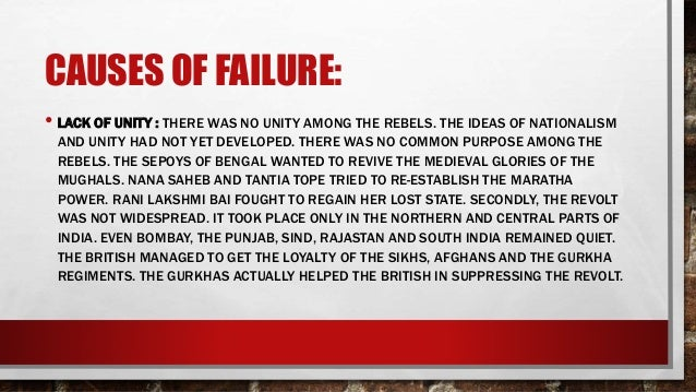 reasons for failure of revolutions of The revolutions of 1848 failed for a variety of reasons, the main ones being, the lack of unity, the spirit of cooperation among the monarchs and the feeling of mutual distrust among different races the main cause of the failure of the revolution of 1848 was the lack of the spirit of unity among the revolutionaries.
