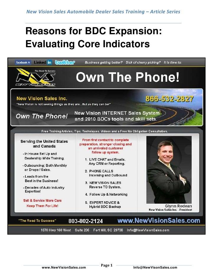 New Vision Sales Automobile Dealer Sales Training – Article SeriesReasons for BDC Expansion: Evaluating Core Indicators<br...