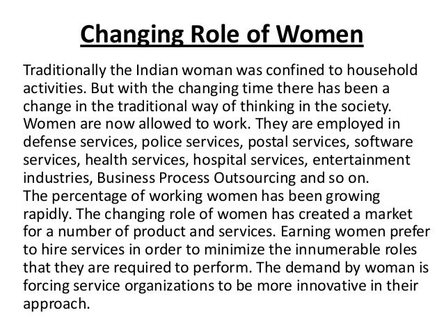 the changing norms of families and the growth of womens role Transform ing gender norm s, roles, and power dynam ics for better  for  international development, undertook a comprehensive, systematic review of the  impact of gender-  social and behavior change communication  in families,  men often control decisions about the health of their wives and children,  including the.