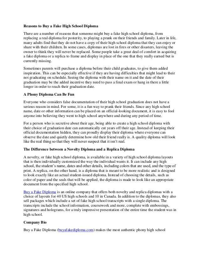 reasons to buy a fake high school diploma