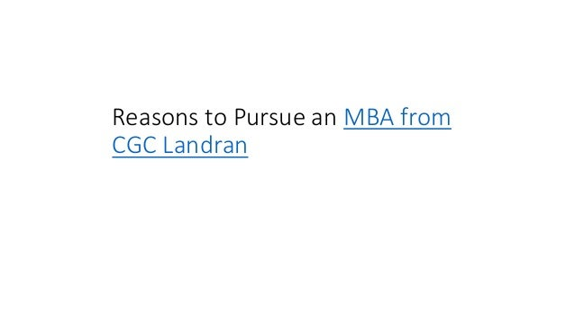 Reasons to Pursue an MBA from CGC Landran