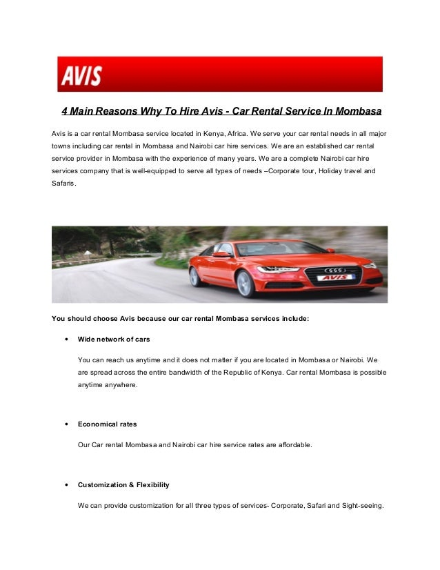 4 Reasons Why To Hire Avis Car Rental Service In Mombasa