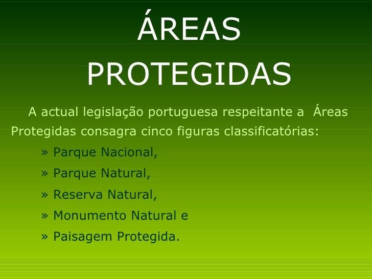 ÁREAS            PROTEGIDAS  A actual legislação portuguesa respeitante a ÁreasProtegidas consagra cinco figuras classific...
