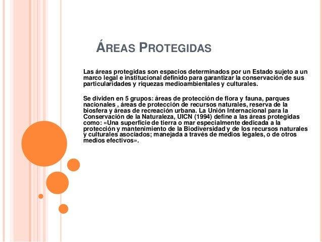ÁREAS PROTEGIDASLas áreas protegidas son espacios determinados por un Estado sujeto a unmarco legal e institucional defini...