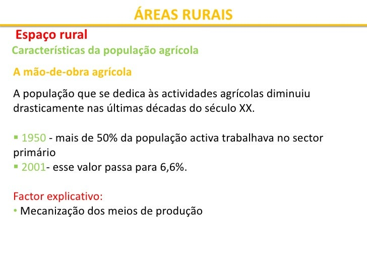 ÁREAS RURAIS Espaço rural Características da população agrícola A mão-de-obra agrícola A população que se dedica às activi...