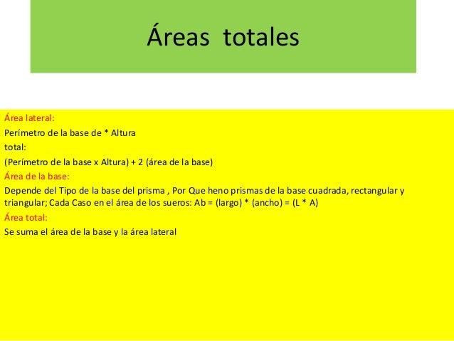 Áreas totales Área lateral: Perímetro de la base de * Altura total: (Perímetro de la base x Altura) + 2 (área de la base) ...