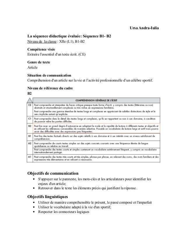 Ursa Andra-IuliaLa séquence didactique évaluée: Séquence B1- B2Niveau de la classe : XIIe (L1), B1-B2Compétence viséeExtra...